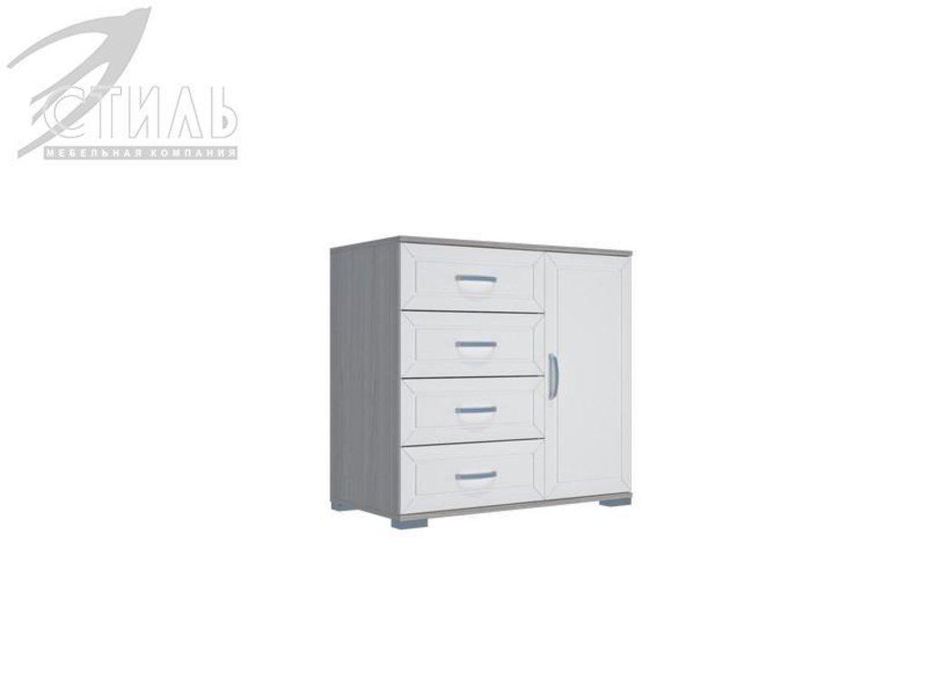 Комоды: Комод МДФ №3 (Ясень шимо светлый / Белый металлик) в Диван Плюс