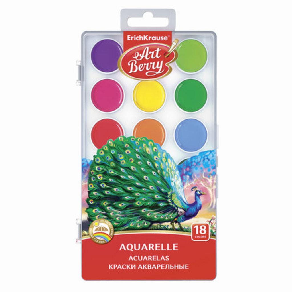 Краски: ErichKrause краски акварельные 18 цветов в Палитра