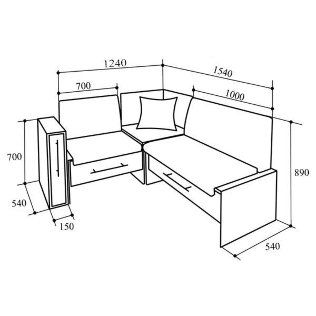 Кухонные уголки: Кухонный уголок КУ-50С 1540 в Уютный дом