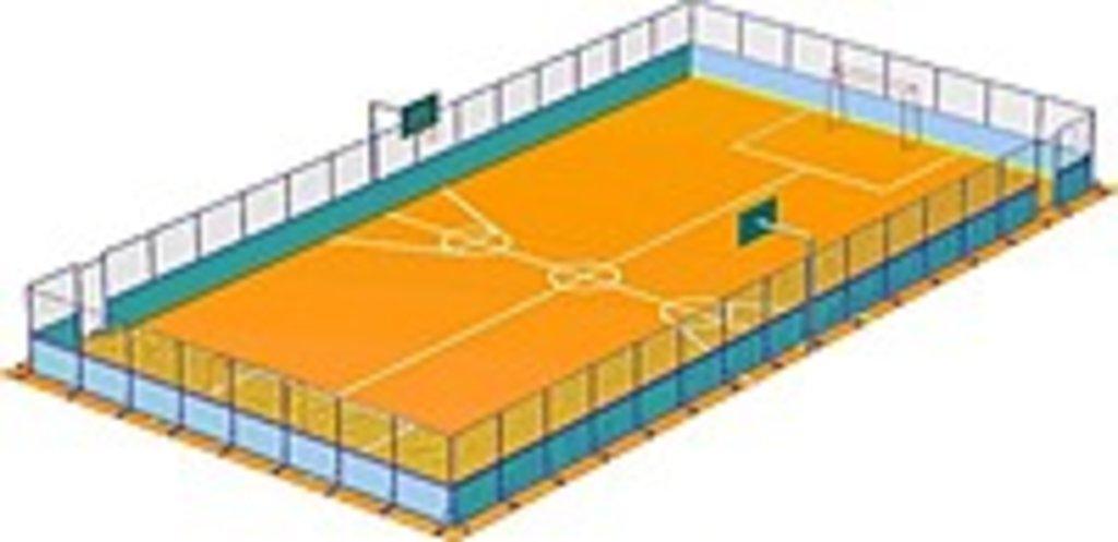 Универсальная спортивная площадка (прямоугольная): Универсальная спортивная площадка 16*30 м в Спарта