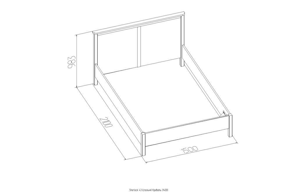 Кровати: Кровать (1400) Дерево Sherlock 43 в Стильная мебель