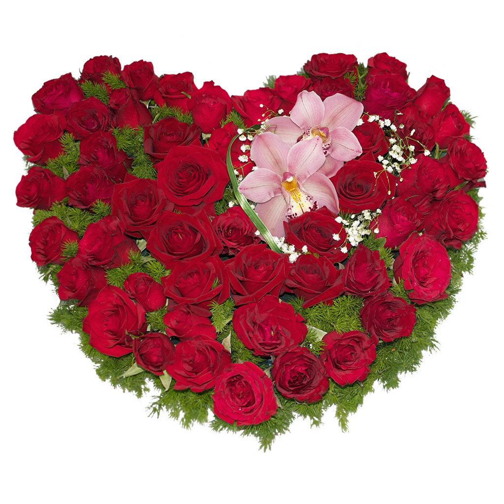 """Букеты и композиции из живых цветов: Композиция """"Сердце"""" в Цветы доставка"""