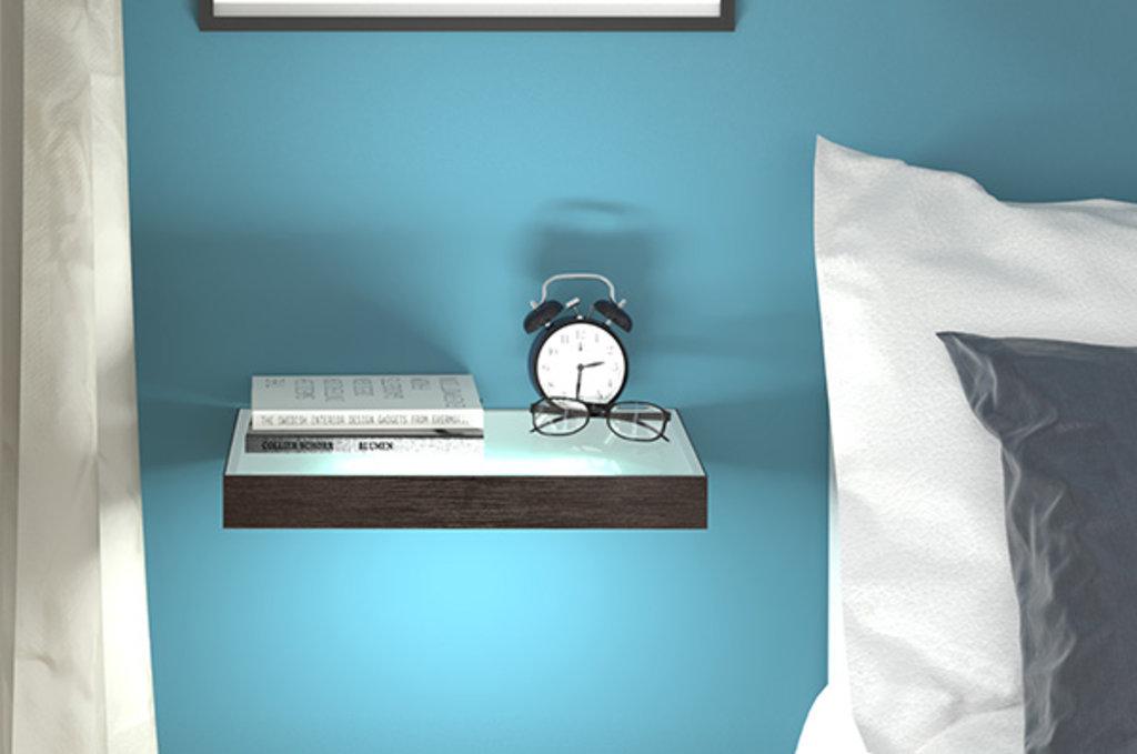 """Мебельная фурнитура """"НОВИНКИ"""": Полка-светильник LED Just-50, 450х200 мм, 4Вт (330Лм), 4200 K, отделка венге (пленка) + стекло в МебельСтрой"""