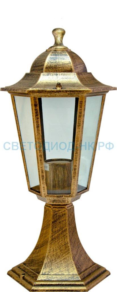 Садово-парковые светильники: 6104 60W 230V E27 170*170*370мм черное золото  ОТК на постамент в СВЕТОВОД