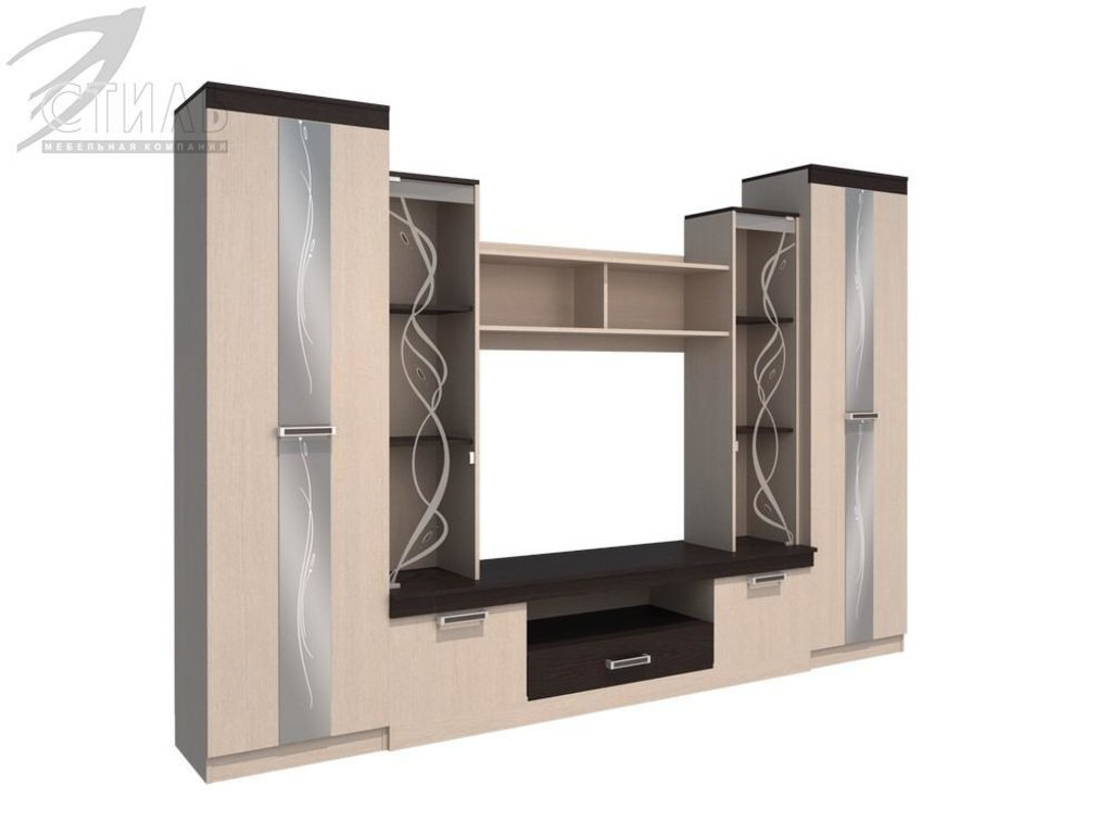 Гостиные: Мебель для гостиной Атлантида-2Б (венге / дуб молочный) в Диван Плюс