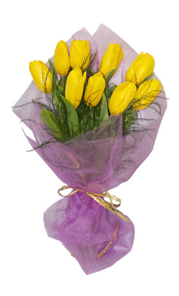 """Букеты и композиции из живых цветов: Букет """"9 тюльпанов"""" в Цветы доставка"""