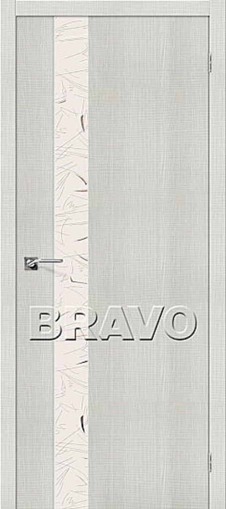 Двери экошпон BRAVO: Порта-51 SA Bianco Crosscut в STEKLOMASTER