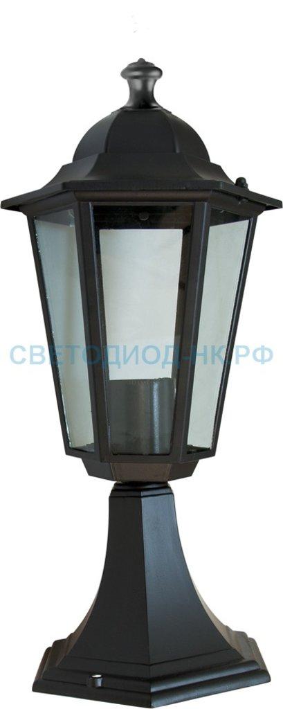 Садово-парковые светильники: 6104 60W 230V E27 170*170*370мм черный на постамент в СВЕТОВОД