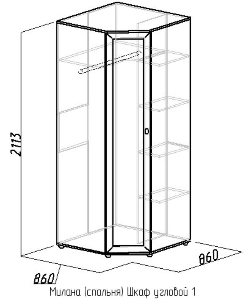 Шкафы для спальни: Шкаф угловой 1 Милана в Стильная мебель