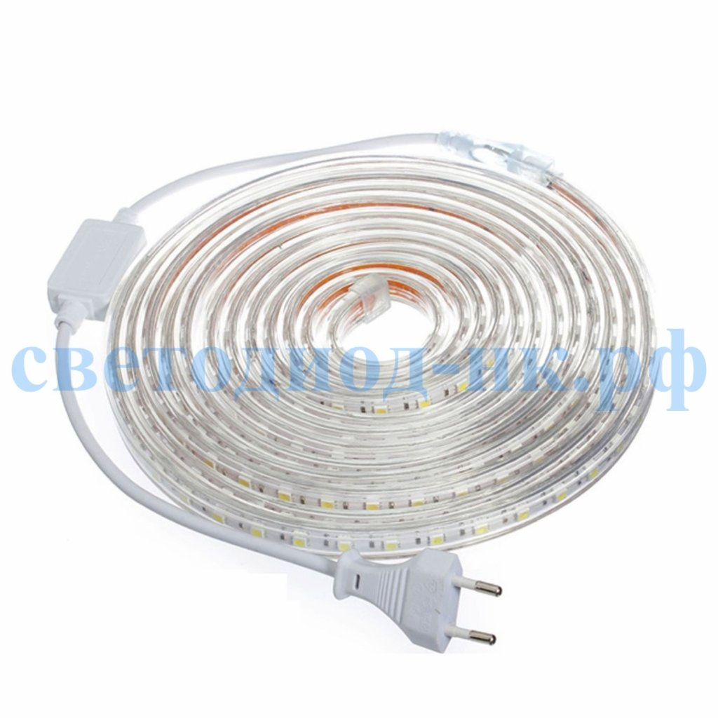 Светодиодная лента 220В: Светодиодная лента SMD5050 60 диодов на 1м в силиконовой трубке IP67 220В (тёплый белый) в СВЕТОВОД