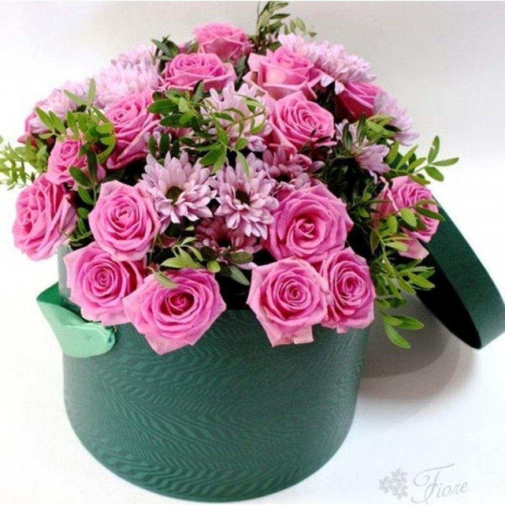 Коробки: 004 Цветы в шляпной  коробке в Lilies