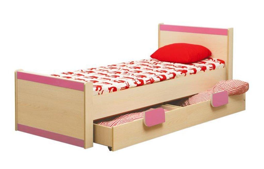 Детские: Кровать детская одинарная Лайф-4 розовая в Vesa