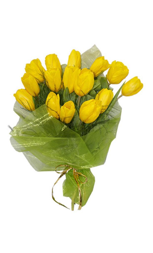 """Букеты и композиции из живых цветов: Букет """"15 тюльпанов"""" в Цветы доставка"""