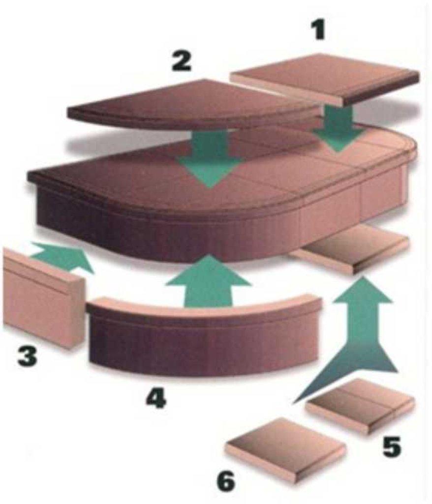Ступени для лестниц: Ступень угловая «Элемент-2» (закругление) 29,0х29,0х3,5 серый №1 в КамПлит
