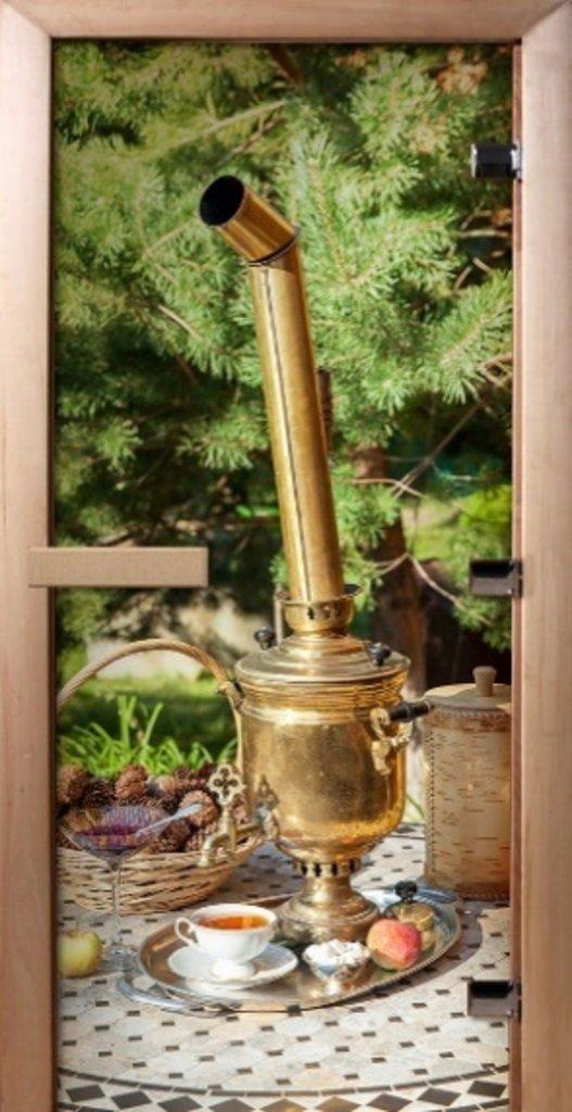 Двери для бани и сауны: Термостеклянные двери с полноцветным рисунком в Сельский магазин