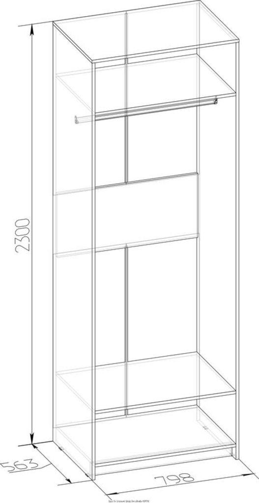 Шкафы для одежды и белья: Шкаф для одежды Фасад Зеркало+Зеркало БРИЗ 54 в Стильная мебель