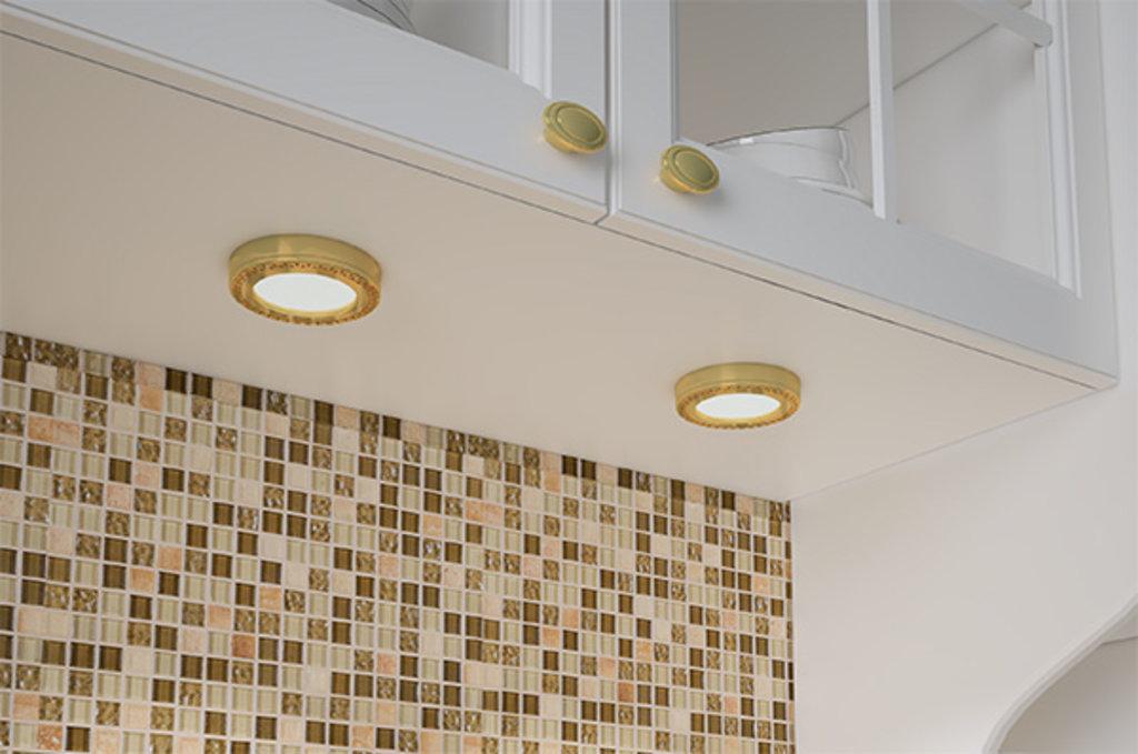 LED Nika: Комплект из 4-х светильников LED Nika, 3000K, отделка золото глянец в МебельСтрой