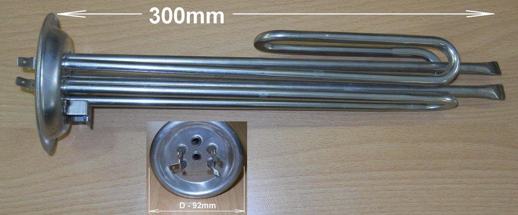 Запчасти  для водонагревателей: ТЭН водонагревателя 1000W+1500W (фланец 92мм, анод M6) в АНС ПРОЕКТ, ООО, Сервисный центр