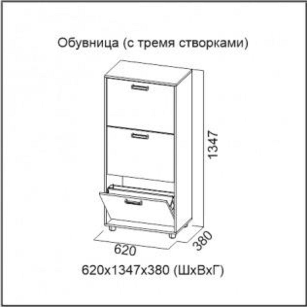 Мебель для прихожей Визит-1: Обувница (с тремя створками) Визит-1 в Диван Плюс