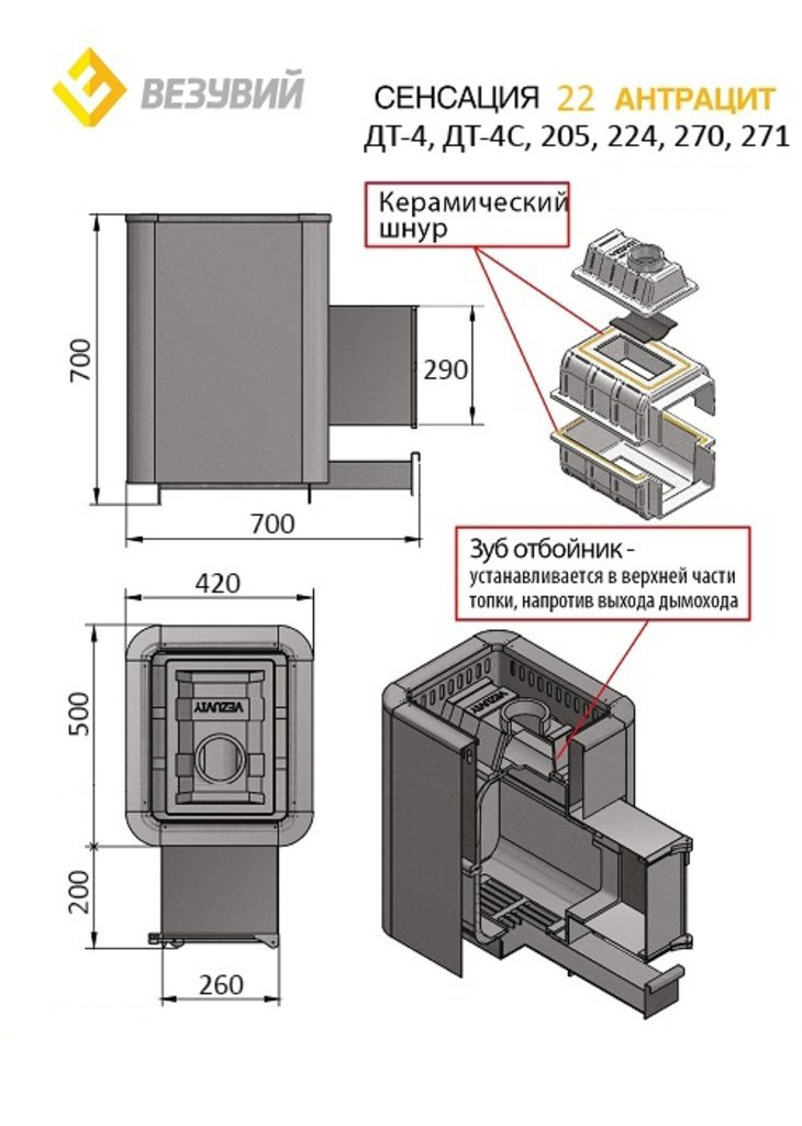 Сенсация: Чугунная печь Сенсация 22 Антрацит (ДТ-4С) в Антиль