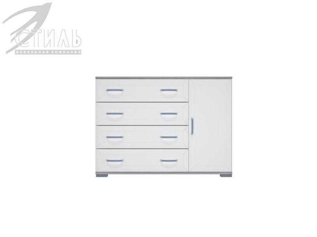 Комоды: Комод МДФ №4 (Ясень шимо светлый / Белый металлик) в Диван Плюс