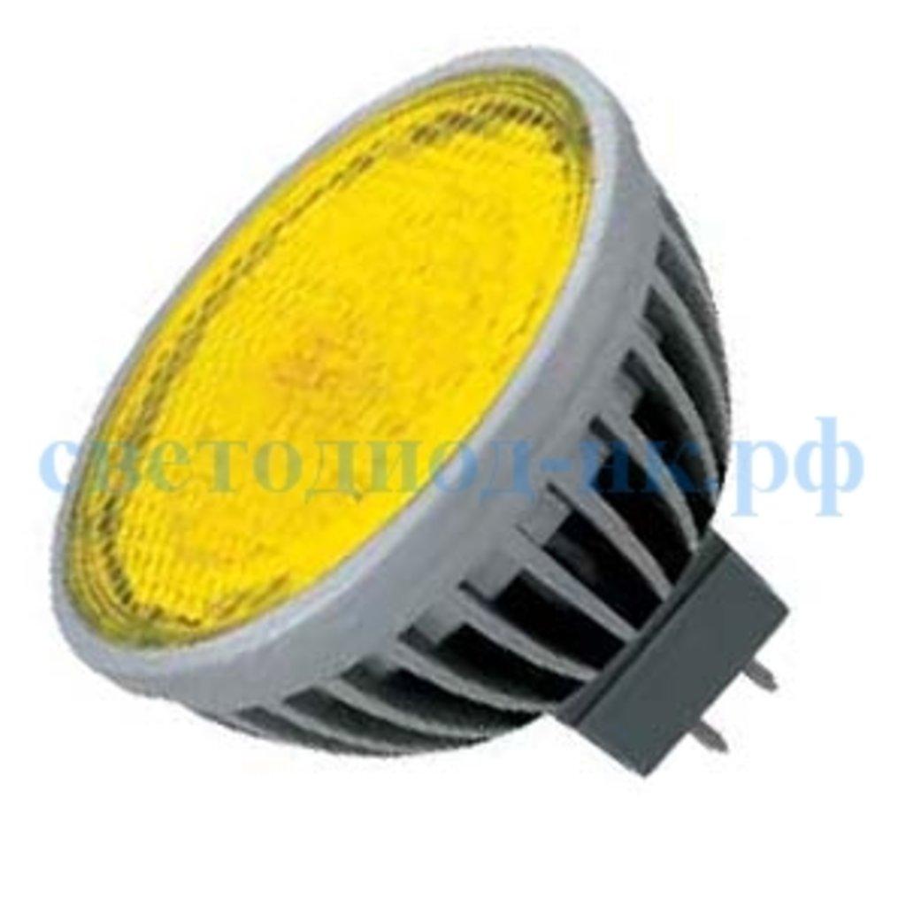 Цветные лампы: Ecola MR16 LED color 4,2W 220V GU5.3 Yellow Желтый прозрачное стекло 47х50 в СВЕТОВОД