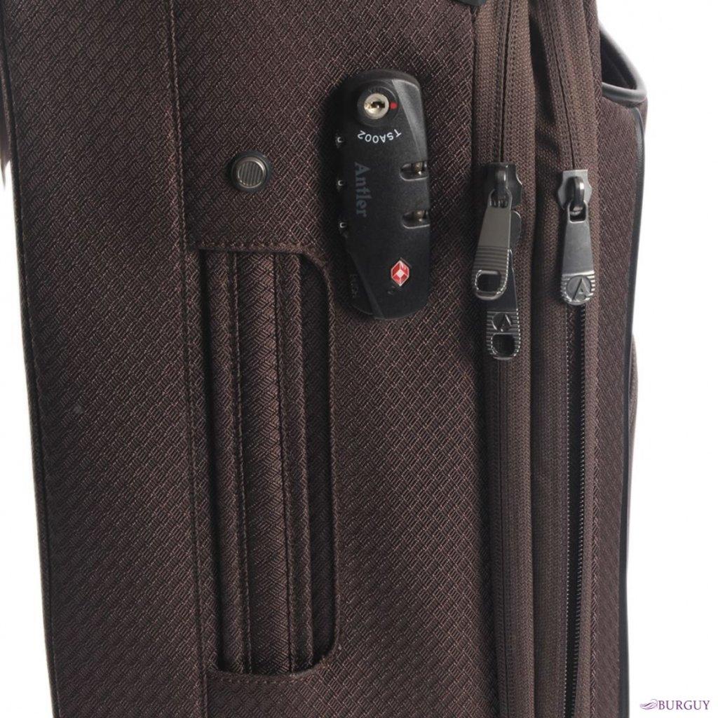 Чемоданы(полиэстер): A-3404121019 Чемодан-тележка, 4 кол, с ув об, с встр код зам TSA, 48л, полиэстер, коричневый в Робинзон