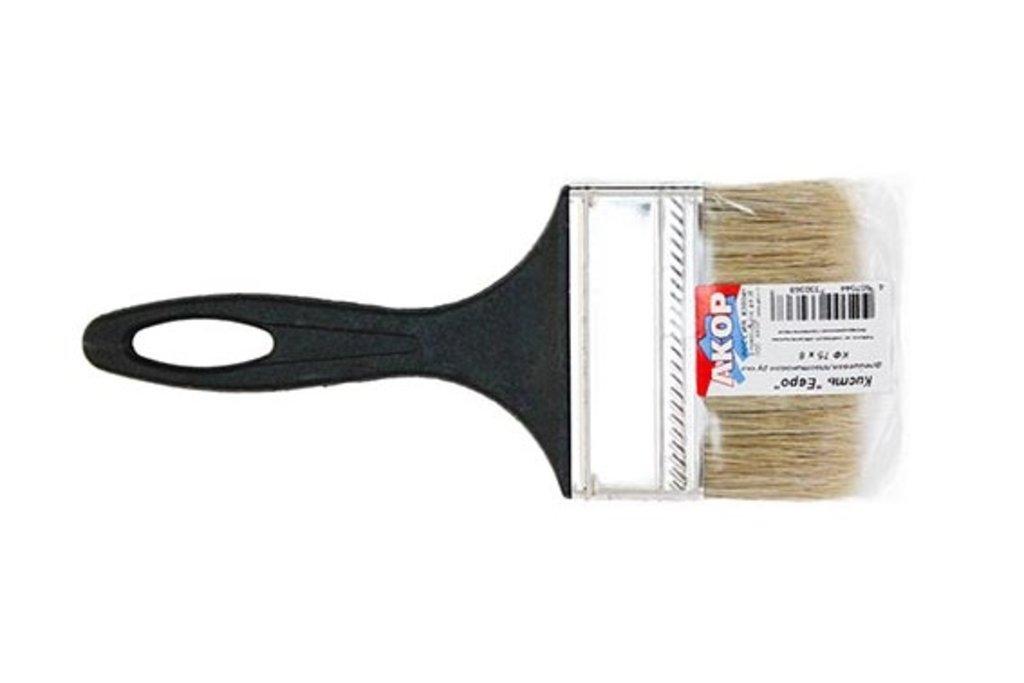 Малярные инструменты АКОР: Кисть плоская ЕВРО 8мм, АКОР (светл.натур.щетина, черн.пластик. ручка) в Строймастер-56