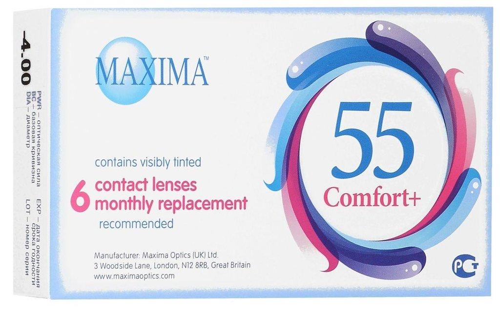 Контактные линзы: Контактные линзы 55 Comfort Plus (6шт / 8.6) Maxima в Лорнет