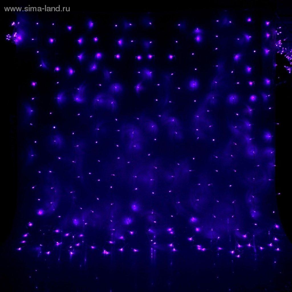 "Светодиодный дождь: Гирлянда ""Занавес"" УМС вилка Ш:2 м, В:1,5 м, Н.С. LED-360-220V, контр. 8 р, ФИОЛЕТ в СВЕТОВОД"