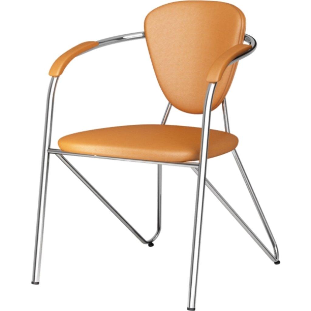 Офисные стулья: Стул Э-1 с подлокотником к/з (хром) в АРТ-МЕБЕЛЬ НН