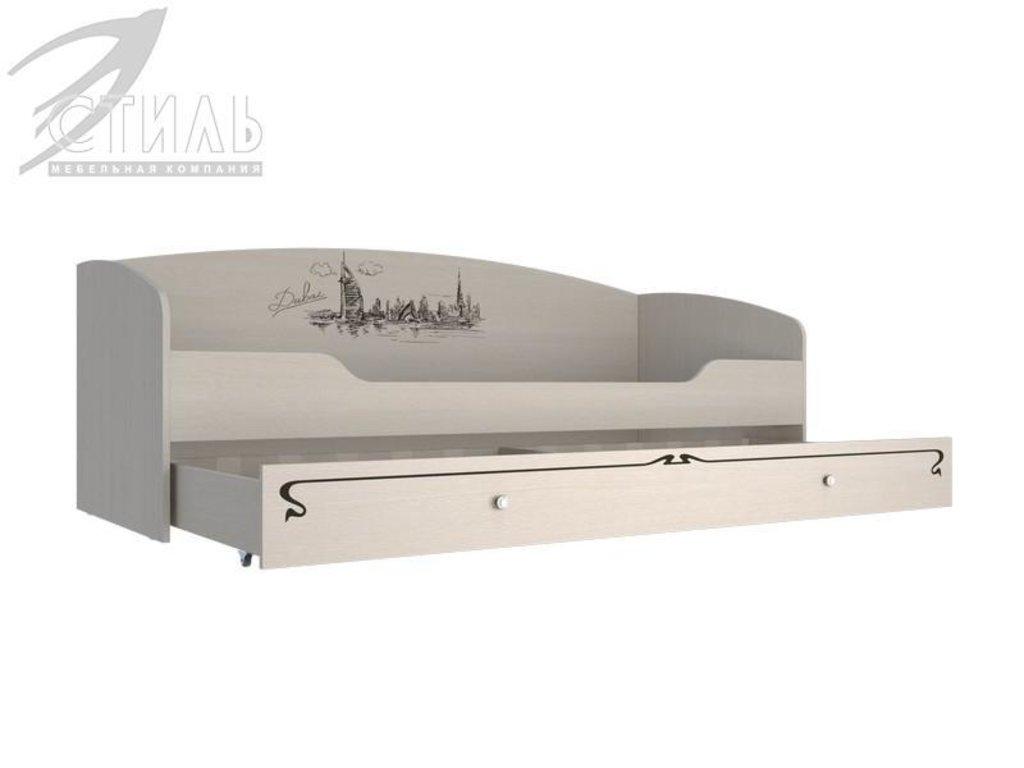 Мебель для детской Мийа - 3 (дуб молочный, фотопечать): Кровать-фотопечать односпальная с ящиком КР- 301 Мийа - 3 в Диван Плюс