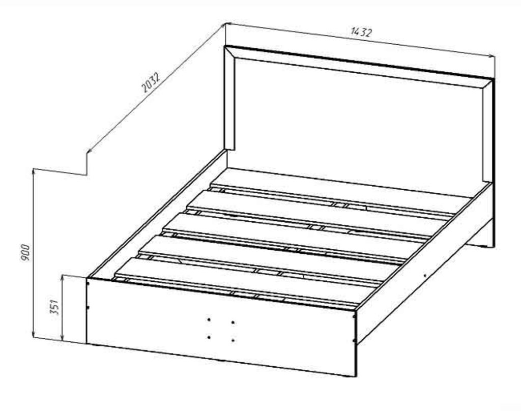 Мебель для спальни Соната. Модульная серия.: Кровать 2-х спальная 1400х2000 Соната в Уютный дом