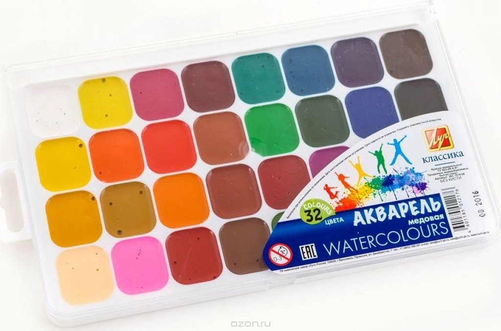 Краски: ЛУЧ  акварель медовая 24 цвета в Палитра