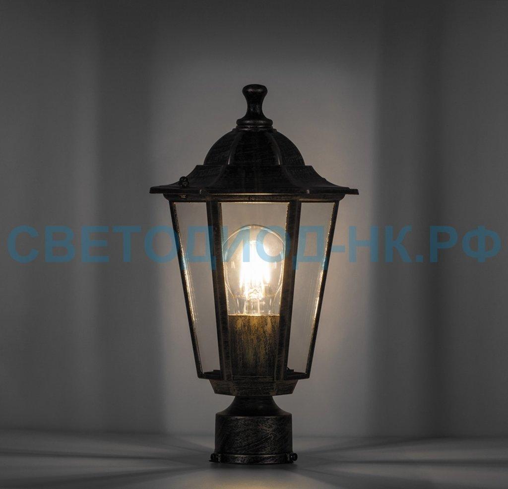 Садово-парковые светильники: 6103 60W 230V E27 170*170*310мм черное золото на столб в СВЕТОВОД