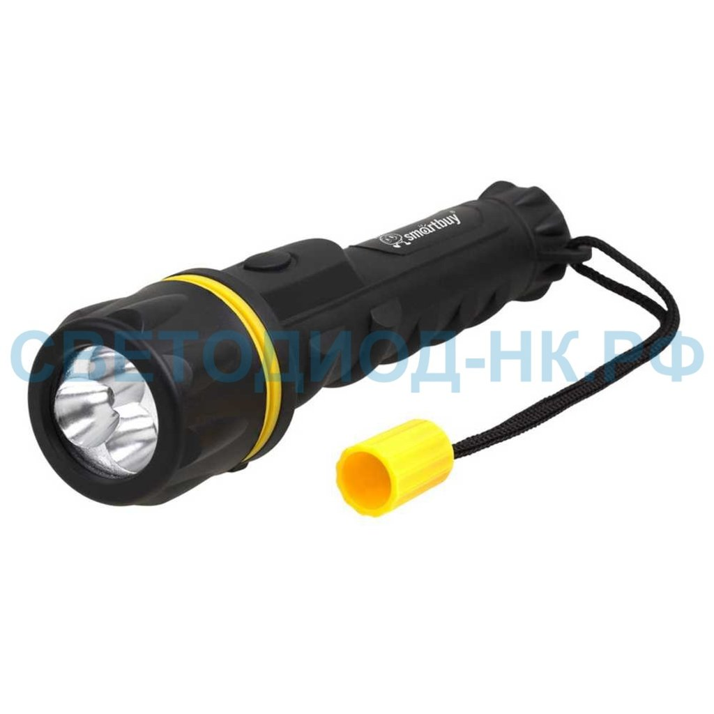 Светодиодные фонари, пушлайты: Фонарь Smartbuy резиновый 3led 2АА черный в СВЕТОВОД