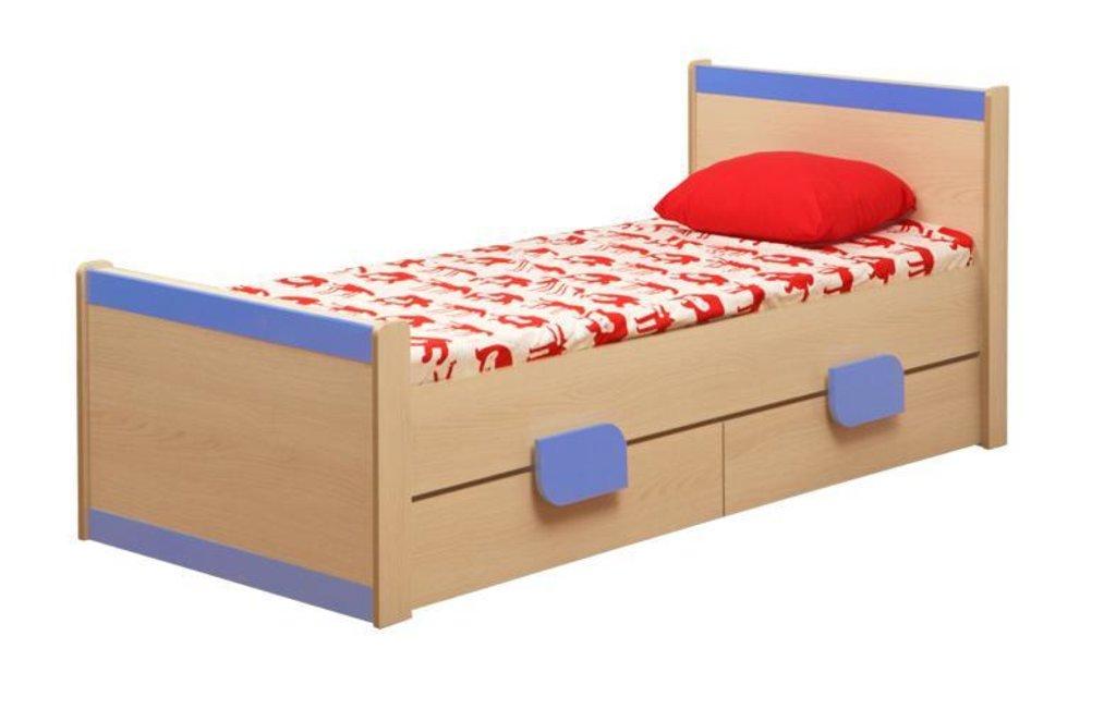 Детские: Кровать детская одинарная Лайф-4 голубая в Vesa