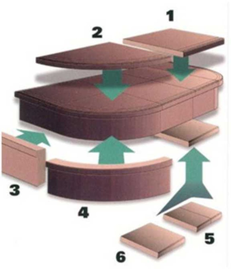 Ступени для лестниц: Ступень «Элемент-1» 29,0х25,0х3,5 цвет №2-9 в КамПлит
