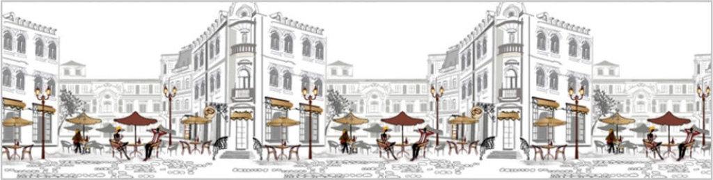Декоративные интерьерные панели (фартуки для кухни): Интерьерная декоративная панель Уличное кафе (3х0,6м; 2х0,6м) в Мир Потолков