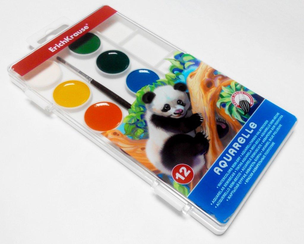 Краски: ErichKrause краски акварельные 12 цветов в Палитра