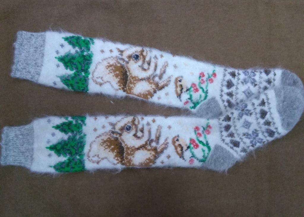 Варежки, носки, гольфы, наколенники: Гольфы из собачьей шерсти с рисунком в Сельский магазин