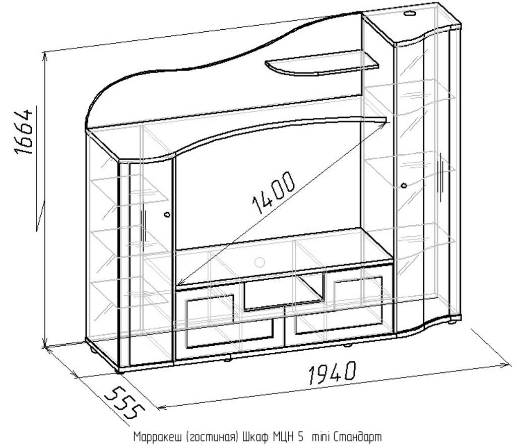 Шкафы, общие: Шкаф МЦН 5 mini Стандарт Марракеш в Стильная мебель