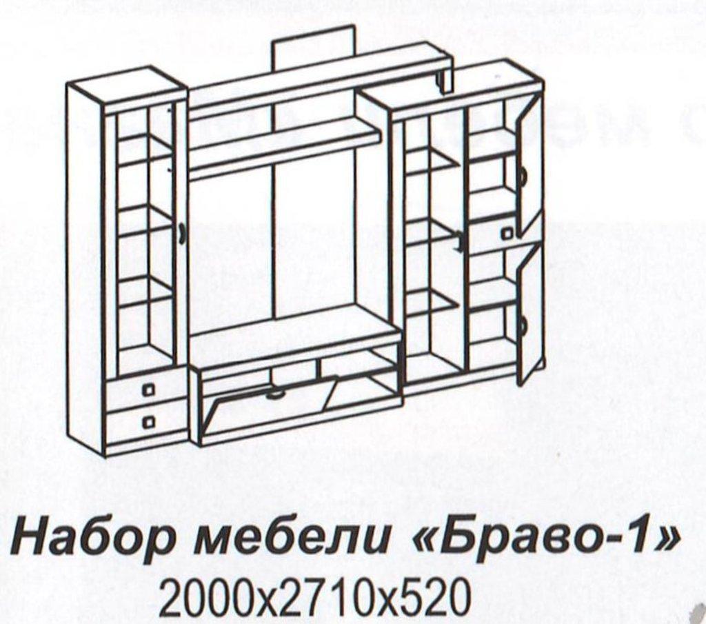 Мебель для гостиных, общее: Стенка Браво-1 в Стильная мебель