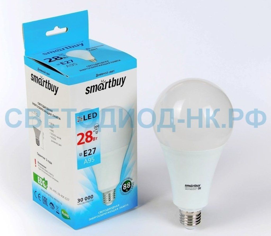 Цоколь Е27: LED SMARTBUY A95-28W/4000/E27 в СВЕТОВОД