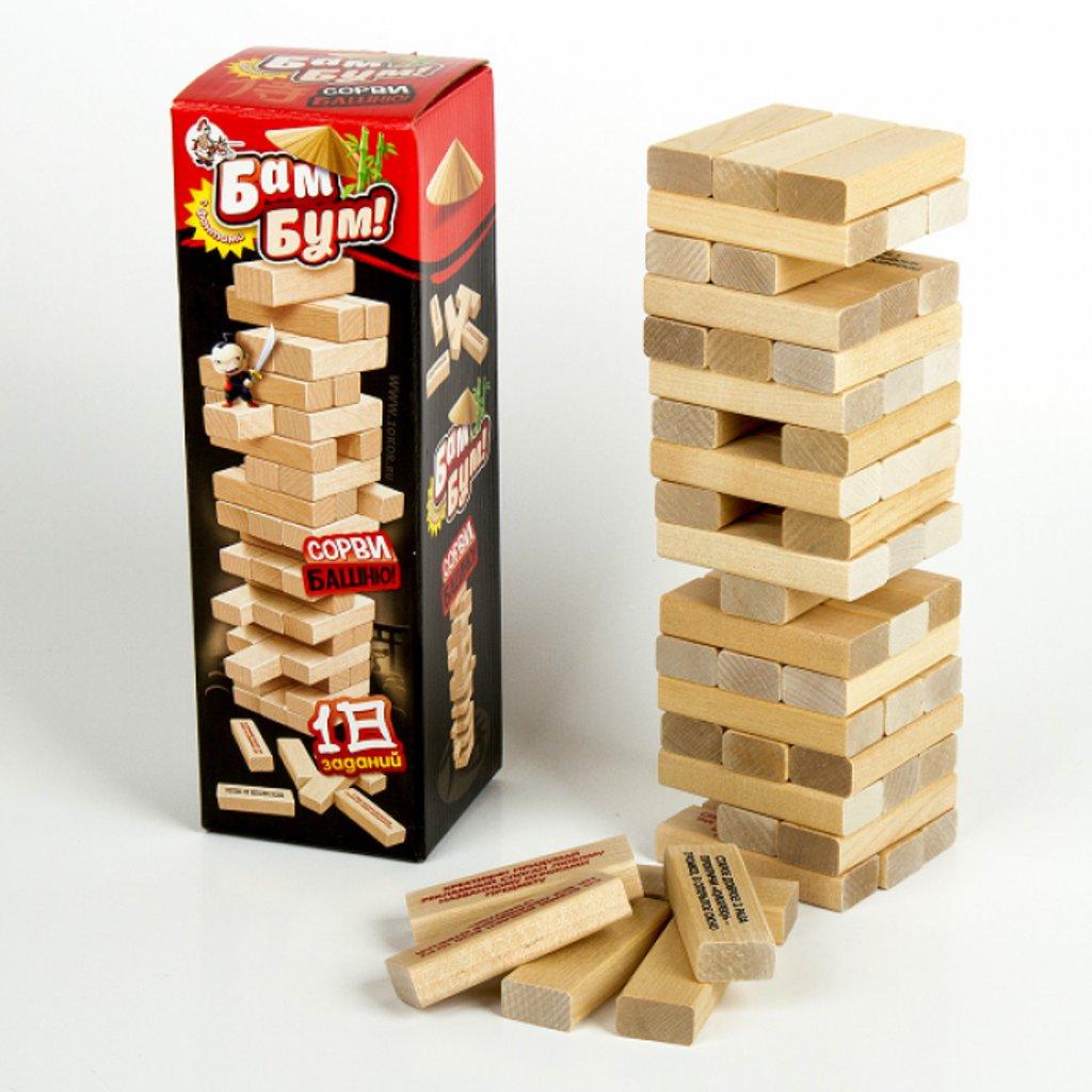 Настольные и спортивные игры: Игра для детей и взрослых  Бам-Бум mini (падающая башня) Десятое кор. в Игрушки Сити