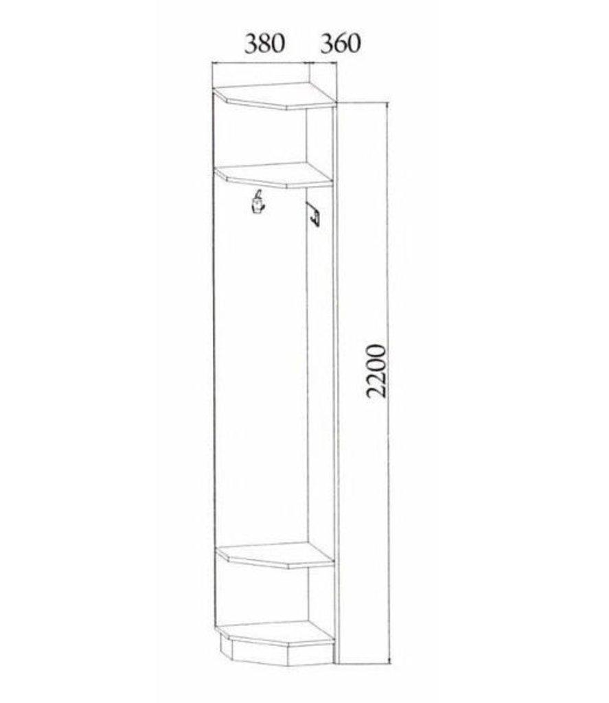 Мебель для прихожей Консул 2: Угловое окончание с вешалкой Консул 2 в Диван Плюс