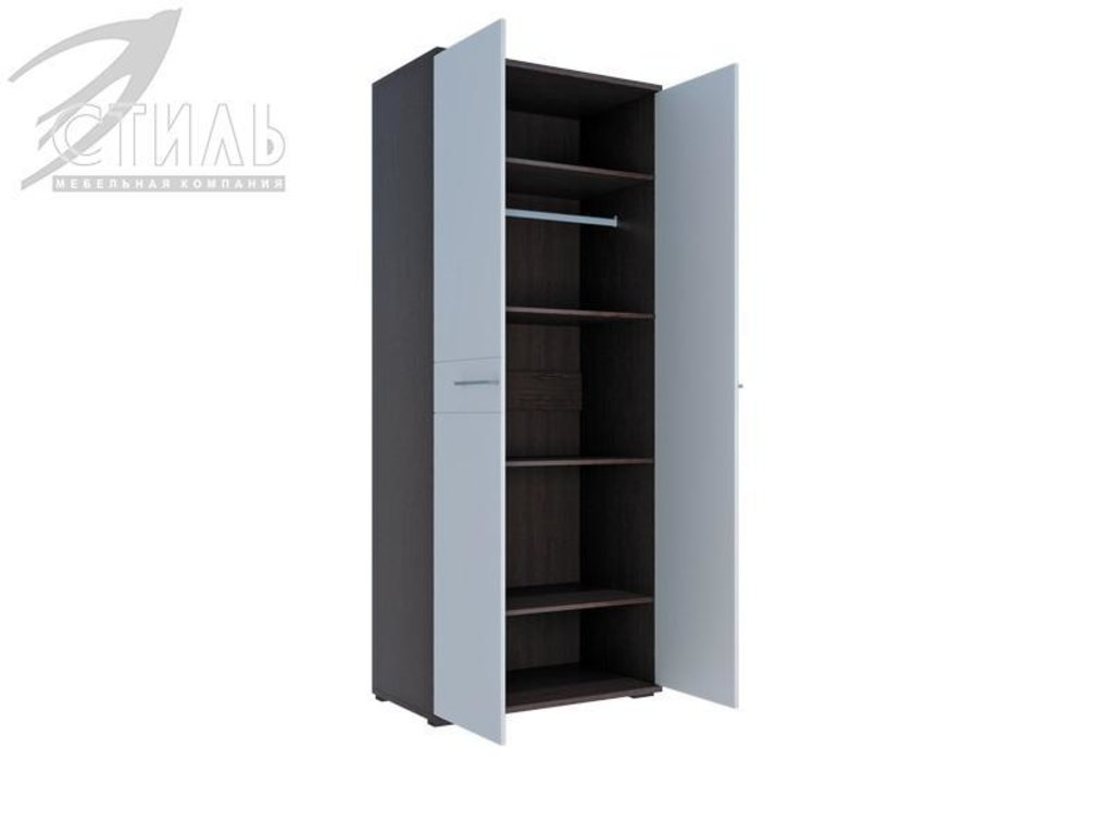 Мебель для спальни Луиза (венге / белый металлик): Шкаф двухстворчатый Луиза (венге / белый металлик) в Диван Плюс