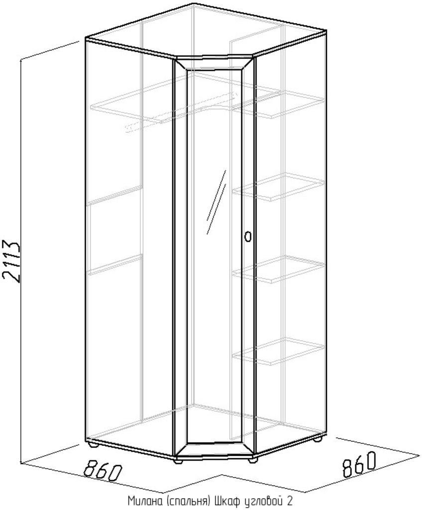 Шкафы для спальни: Шкаф угловой 2 Милана в Стильная мебель