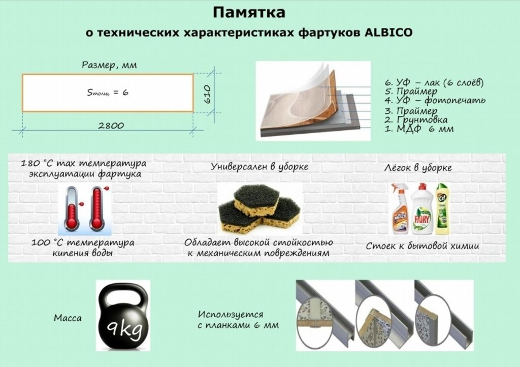 Фартуки ЛакКом 6 мм. с тиснением: Шато Марго / тиснение кирпич в Ателье мебели Формат