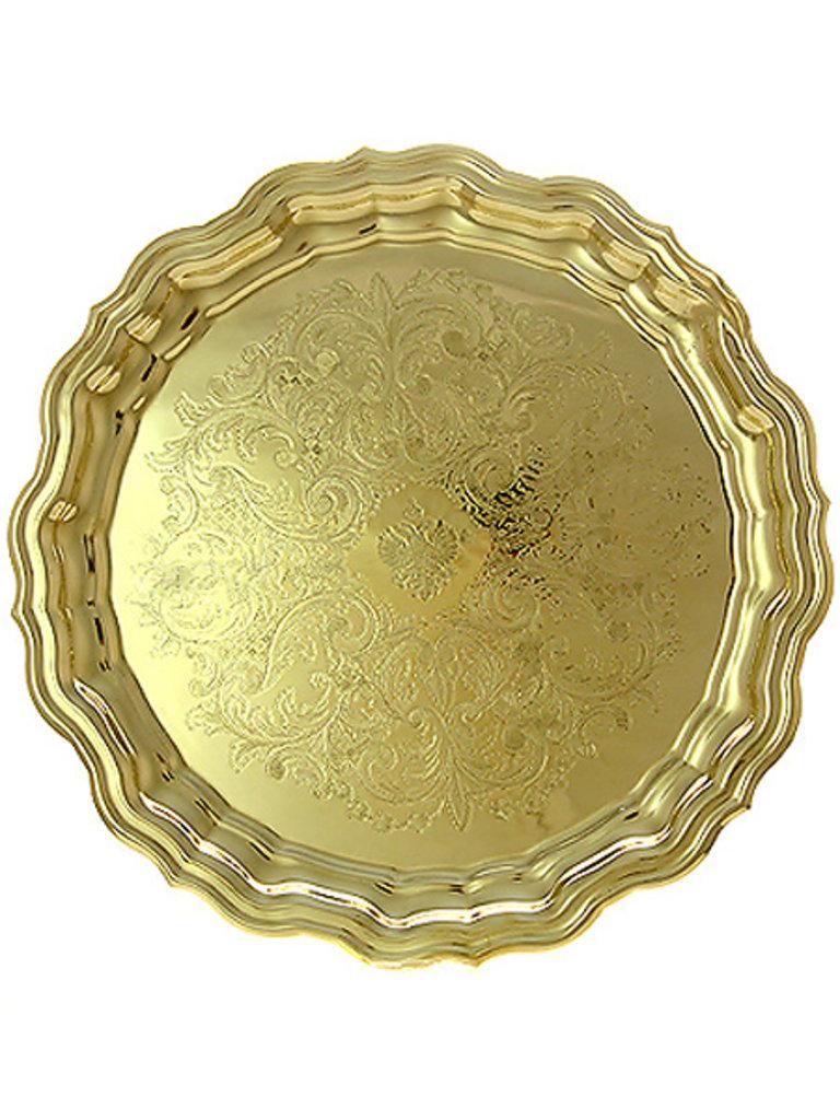 Самовары: Латунный поднос для самовара круглый желтый с фигурным краем и гравировкой, Кольчугино в Сельский магазин